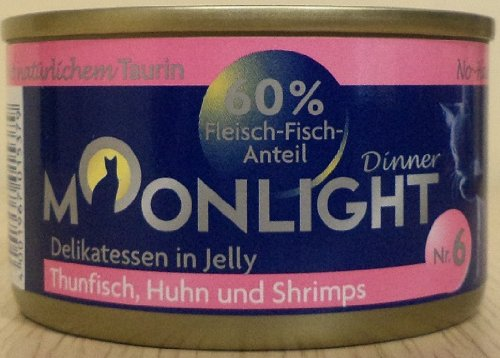 12x80g Moonlight Dinner Katzenfutter Dosen Nassfutter (Nr.6 Thunfisch Huhn Shrimps in Jelly)