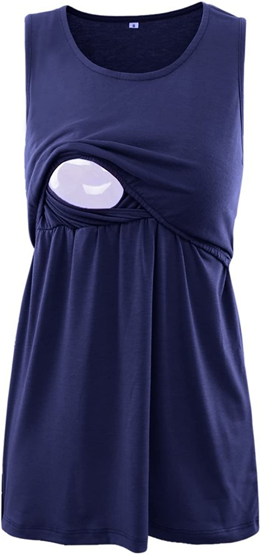 BBHoping 2 Layers Maternity Nursing Comfy Tank Tops Sleeveless Comfy Breastfeeding Clothes Navy