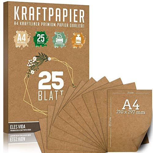 25 Blatt Kraftpapier A4 Set - 260 g - 21 x 29,7 cm - DIN Format - Bastelpapier & Naturkarton Pappe Blätter aus Kraftkarton zum Drucken, Kartonpapier Basteln für Vintage Hochzeit Geschenke Etiketten