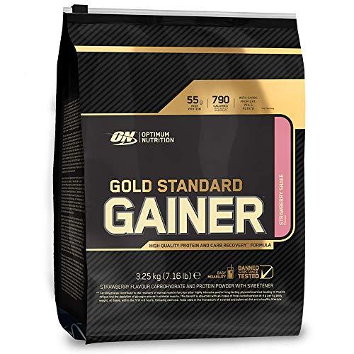 Optimum Nutrition Gold Standard Gainer Weight Gainer (mit Whey Isolat Eiweiß Pulver, Kohlenhydrate aus Hafer, Erbsen und Kartoffeln, Protein Shake von ON) Strawberry Shake, 16 Portionen, 3,25kg