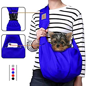TOMKAS Dog Carrier for Small Dogs Small Dog Sling Carrier Puppy Carrier for Small Dogs Puppies Carrier(Royal Blue – Adjustable Buckle for 3-10 lbs)