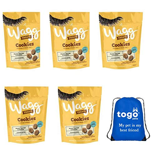 Wagg Peanut Butter and Banana Cookie Dog Treats (Pack of 5) bundle with a Pet Bag + Downloadable Ebook.