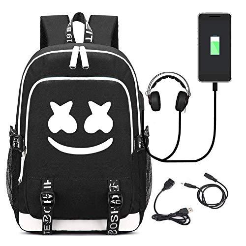 T-MIX Luminous Mochila, Schoolbag Mochila para portátil Bolsa Fresca para Adolescentes Mochila Casual Bolso de Viaje con USB Puerto (A)