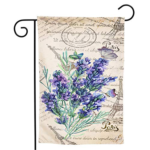 Granbey Vintage Lavender Garden Flag Retro Eiffel Tower Stamp Print Yard Flag Vertical Readable Double Sided Small House Flags Watercolor Butterfly Welcome Garden Flags