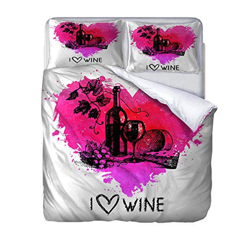 Superking duvet covers Red wine Quilt Cover Set with Zipper 100% Polyester with 2 Envelope Closure Pillowcases 50x75cm for Children adults woman 220x260cm