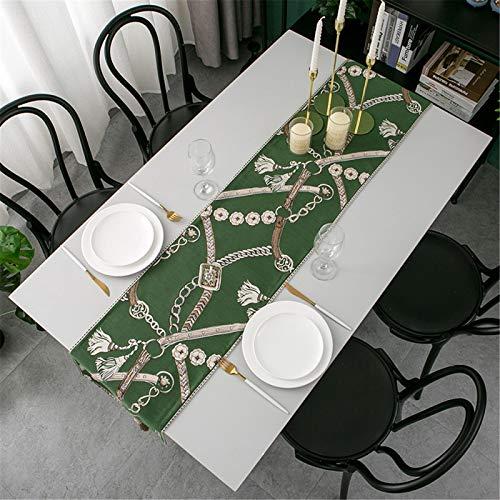 QXbecky Camino de Mesa luz Lujo representación de Tinta Jacquard geométrico Mesa de Comedor Mesa de Centro Zapatero Mantel Mueble de TV Mantel de té Largo Bandera de Cama