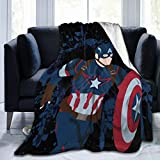Captain America Fleece Blankets Queen Size for All Season Premium Lightweight Anti-Static Throw for Bed Extra Soft Brush Fabric Warm Sofa Thermal Blanket