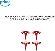 CoolKo Car Front Side Turn Signal Light T - Logo Stickers Exterior Decoration Compatible with Model X, S, 3 [ 4 Pieces - Red ]