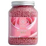 Badesalz Rose 1300g - Meersalz mit 100% Natürlichen Ätherischen Rosenholzöl - Natur Bade-Salz Rosen Am Besten für Guten Schlaf - Körperpflege - Entspannung - Badezusatz