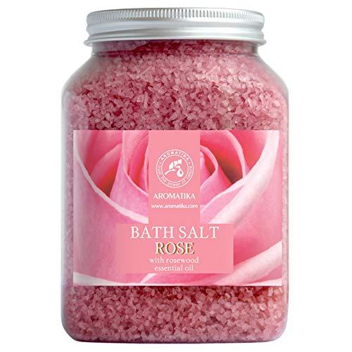 Badzout Rose 1300g - Zeezout met 100% Natuurlijke Essentiële Rozenhoutolie - Natuurlijke Badzoutrozen Beste voor een Goede Nachtrust - Lichaamsverzorging - Ontspanning - Badadditief