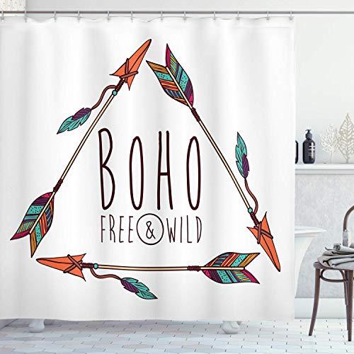 N\A Pfeil Duschvorhang, Baumpfeil im geometrischen Dreieck Form Federn Boho-Druck, Stoff Stoff Badezimmer Dekor Set mit Haken, Weiß Orange