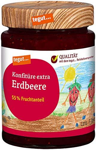 tegut… Erdbeer Konfitüre Extra 340 g – hoher Fruchtanteil – Marmelade im Glas - wiederverschließbar