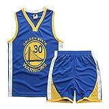 Traje de Baloncesto de Verano para niños, Camiseta de fútbol Stephen Curry No. 30, Pantalones Cortos de Manga Corta para Entrenamiento Deportivo, Estrella Real-Blue-L