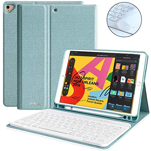 Keyboard Case 10.2 inch for iPad 7th Generation 10.2 2019 iPad 7th Gen, Auto Sleep/Wake Detachable Wireless Bluetooth Keyboard Built-in Pencil Holder