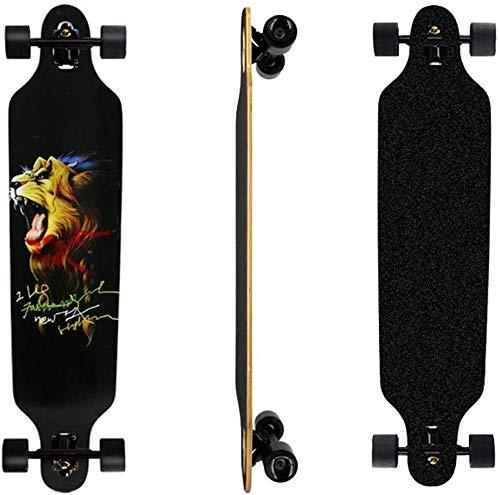YAYY Longboard Skateboard 41 Carbon Stahl Lackhalterung Allrad Longboard Skateboard Pro Sport Tanz Roller Longboard für Kinder Adult Anfänger Lion-Löwe Upgrade