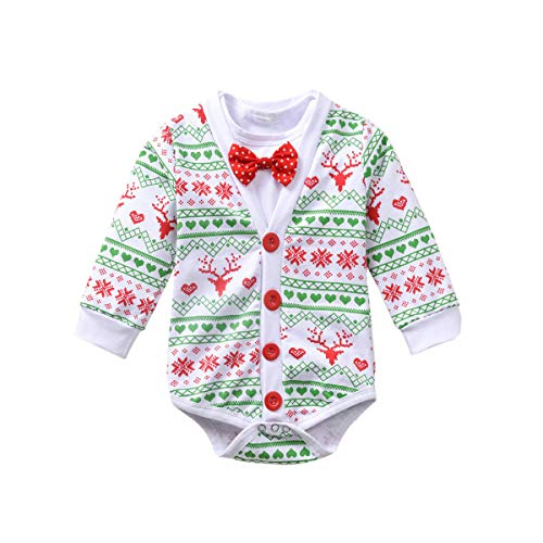 Fioukiay Preemie Newborn Baby Boys Christmas-Bodysuit-Romper-Clothes-Outfits-Set(Green 1, 12-18Months)