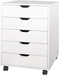DEVAISE 5-Drawer Chest, Wood Storage Dresser Cabinet with Wheels, White