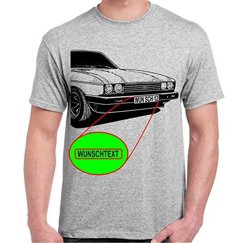 Capri T-Shirt mit oder ohne Wunschbeschriftung auf Kennzeichen (Grau, 2XL)