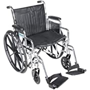 """Drive Medical Chrome Sport Wheelchair with Various Arm Styles and Front Rigging Options, Black and Chrome, 20"""""""