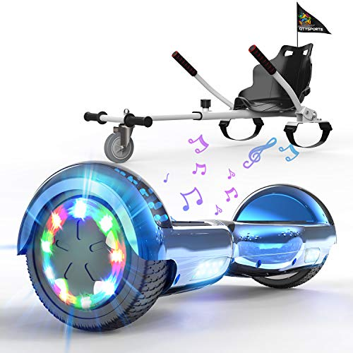 HITWAY Hoverboard de Overboard 6.5 Pulgadas y Hoverkart, Patinete Eléctrico Auto Equilibrio con Hoverkart, Scooter Eléctrico Bluetooth Asiento Kart, Self Balancing Scooter con LED, Regalo para