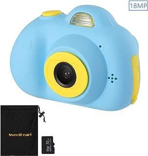 SweetHeart 子供用デジタルカメラ 子供プレゼント 1800万画素 18MP 前後カメラ 2.0インチIPS画面 顔認識機能 多機能 子供カメラ (32GB容量MicroSDカード付き, ブルー)