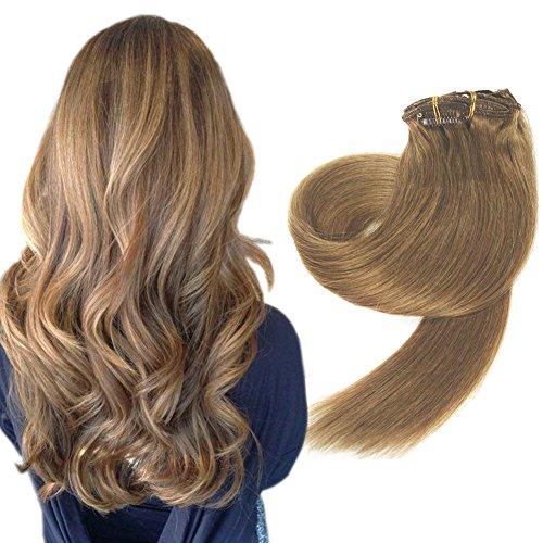 Komfami Remy Haarverlängerung Clip in Haarverlängerung Echthaar Echtes Haar 100 Gramm 45cm No.12 Goldbraun