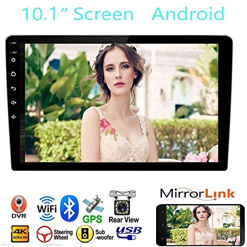 """Car Stereo Double Din Car Stereo Receiver, 10.1"""" 2.5D Curved HD Touch Screen Car Radio, Support Built-in WiFi GPS Navigation Bluetooth, Android&iOS Mirror Link with Subwoofer"""