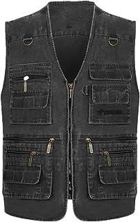 Heren Denim Vesten Multi-Pocket Katoen Mouwloos Vest Mannen Casual Outdoor Vissen Foto Mannelijke Jean Vest