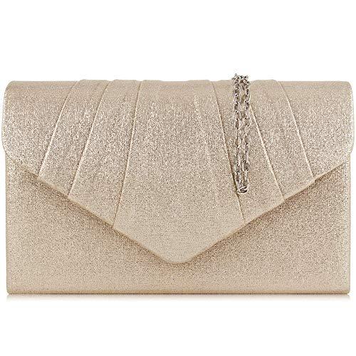 Milisente Clutch Damen, Elegante Clutch Umschlag Crossbody Klassisch Clutch Tasche Abendtasche (Champagne Gold)