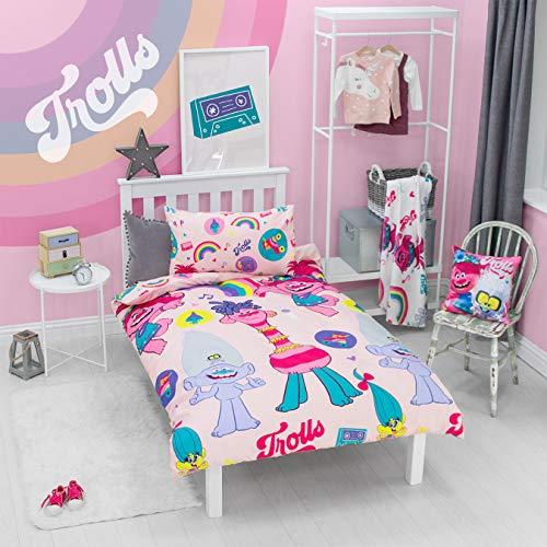 Juego de Cama y Funda de Almohada para Cama Individual, diseño de Trolls 2, Color Rosa
