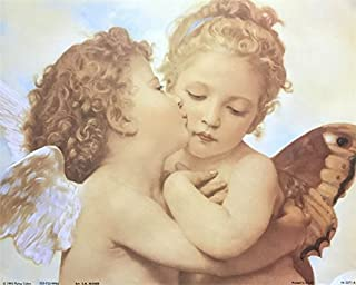 Unframed Print Angel Kissing, (Kids/White Angel / 23-8X10-A) 8x10 Inch M. MUNIER, Art Print & Poster