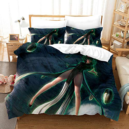 FAIEK Bedding 3 Pieces Duvets Covers Pillowcase Superman Green Girl Microfiber Bedding Comfortable Breathable Duvet Cover Set Fashion Home Bed Linings 140X200CM