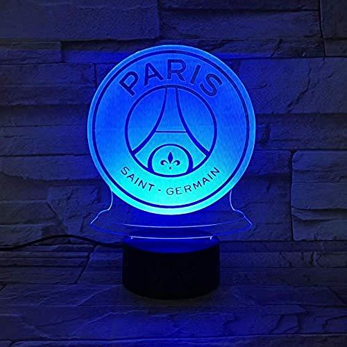 LED Nachtlicht FC Paris Saint Germain Fußballverein 3D Illusion Kinder Kinder League 1 Fußball Logo PSG Nachtlampe Tischlampe @ 1