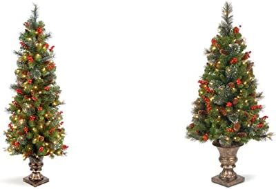 National Tree Company Pre-lit Artificial Christmas Tree for Entrances   Includes Pre-Strung White Lights and Stand   Crestwood Spruce - 5 ft & Christmas Tree Crestwood Spruce, 4- Foot