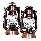 Eaxus 2er Set 15 LED Kupfer Gartenlaterne im Öllampen-Design - Schönes Deko Windlicht