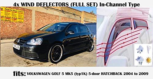 OEM, set di 4 deflettori d\'aria tipo IN-CHANNEL compatibili con VW R32 Volkswagen Golf 5 MK5 5 porte Hatchback 2004 2005 2006 2007 2008 2009 in vetro acrilico
