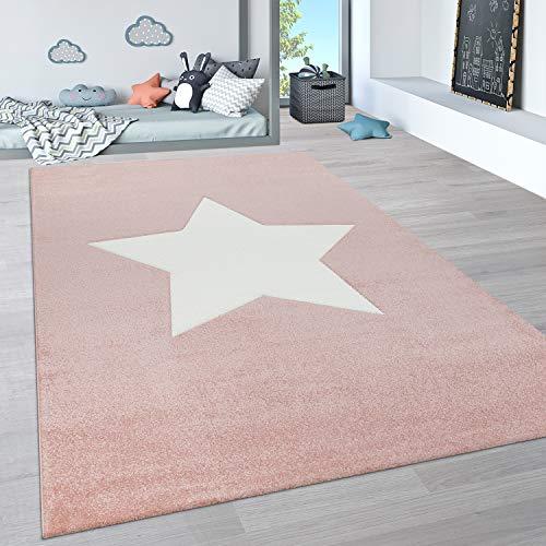 Paco Home Alfombra Infantil, Alfombra Pastel Habitación Infantil con Nubes 3D Y Motivos De Estrellas, tamaño:80x150 cm, Color:Rosa 2