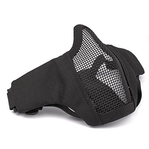GES Faltbare Taktische Half Face Maske Outdoor Maske Schützende Mesh Riding Breathable Maske für Airsoft Paintball CS mit verstellbaren Gürtel Strap (Schwarz)