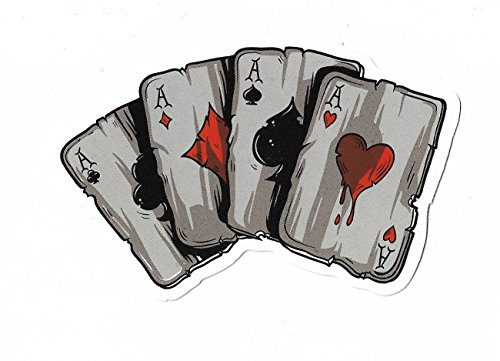 Aufkleber Sticker Pokerkarten Gambling Cards Poker Casino bunt Deko Pickerl