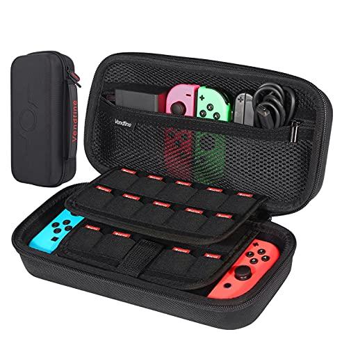 Funda para NS Switch / Switch OLED - Vendfine Funda de Viaje para Nintendo Switch con Más Espacio de Almacenamiento para 19 Juegos, oficial adaptador,Joy-con y otros accesorios Switch(Negro)
