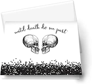 Skull Halloween Wedding Thank You Cards and Envelopes - Set of 20