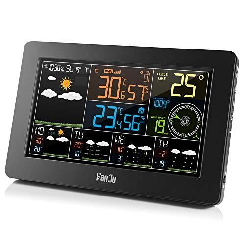 FanJu FJW4 WLAN Wetterstation mit APP-Steuerung/Smart Weather Monitor Uhr mit USB-Anschluss/Innen-/Außentemperatur und Luftfeuchtigkeit/Windgeschwindigkeit/Digitaluhr mit Außensensor