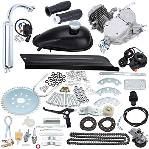 """Ambienceo 26"""" 28"""" Black 2 Stroke 50cc 80cc Cycle Bicycle Gas Motorized Gasoline Engine Motor Kit CDI Air Cooling For Mountain and Road Bike (50cc, Silver)"""