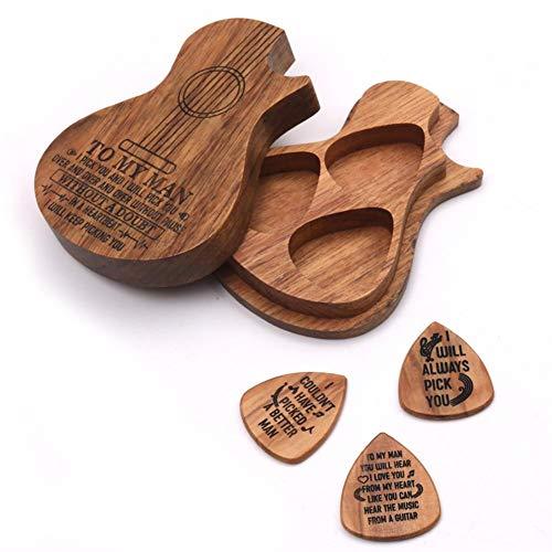 3 Pcs Gitarre Picks Plektrum Plektren aus Holz Plektren,Wooden Guitar Pick Set Plektrum Aufbewahrungsbox Case Box mit Plektren aus Holz Gitarrenzubehör