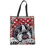 Coloranimal Leinen Einkaufstasche für Frauen Cute Boston Terrier Pattern Umweltfreundliche Einkaufstaschen Gym Sport Outdoor Strand Umhängetasche Maschinenwaschbar Big Capacity Satchel