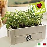 Caja decorativa para hierbas de cocina, caja de madera con semillas de albahaca, 26 x 16 x 11 cm