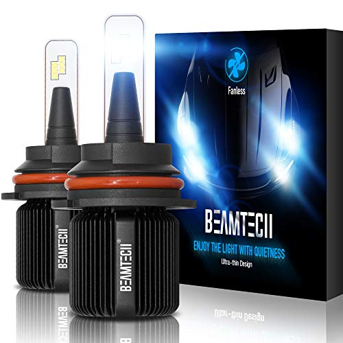 BEAMTECH 9007 LED Headlight Bulb,Fanless CSP Y19 Chips 8000 Lumens 6500K Xenon White HB5 Hi/Lo Extremely Bright Conversion Kit of 2