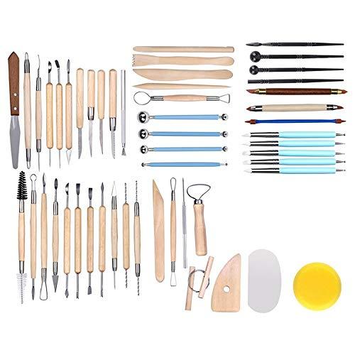 RETYLY 51 Piezas de Herramientas de Escultura de Arcilla de CeráMica Herramientas de Talla de CeráMica de Madera Kit de Herramientas de CeráMica para Esculturas para Modelar y Dar Forma