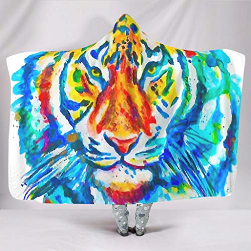 HMML Weighted Hoodies Blanket Throw Photo Colorful Animal Watercolor Tiger Blanket Velvet Bed Couch Blanket White 50x60 inch