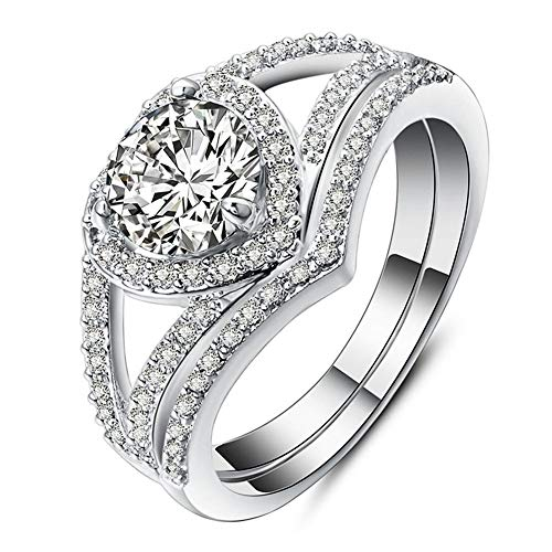 Elegante corazón de doble capa para mujer, chapado en oro blanco, circonita cúbica, solitaria, promesa, anillo de compromiso de boda, talla 6-9